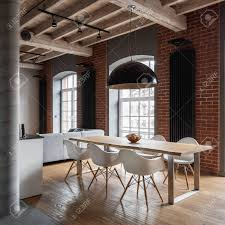 100 Wooden Ceiling Apartment With Industrial Brick Wall Wooden Ceiling And Dining