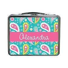 Crazy Turquoise Paisley Personalized Lunch Box