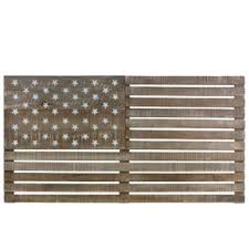 American Flag With Painted Star Wood Wall Decor