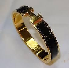 authentic hermes clic clac h bracelet enamel gold plated purple