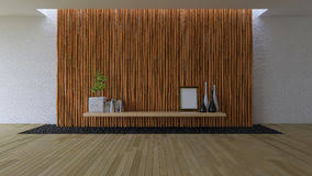3d leeren raum mit bambuswand stockbild bild struktur