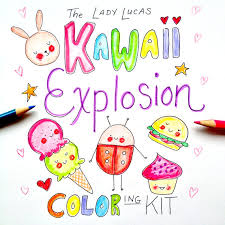 Kawaii Explosion Coloring Book Kit