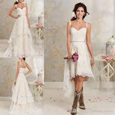 Discount Lace Country Wedding Dresses With Detachable Train High Short