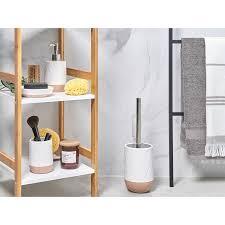 badezimmer set weiß beige keramik 4 teilig trinkglas seifenschale seifenspdender toilettenbürste badezimmer
