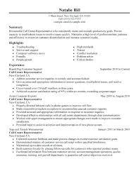 Call Center Job Description Resume Cool Representative Examples