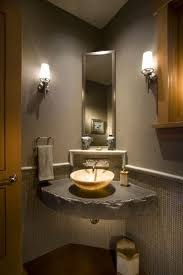 Half Bathroom Ideas With Pedestal Sink by Small Bathroom With Vessel Corner Sink A Good Sink For A Small