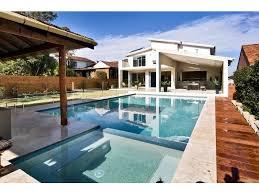 contemporary pool patio tiles medium modern garden swimming