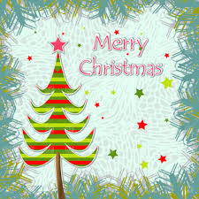 Template Of Christmas Greeting Card Vector Image Of Holiday
