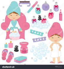 Illustration Little Girls Being Pampered Stock Vector Spa Party Clipart Jpg