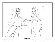 Mary Visited Elizabeth Coloring Page