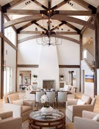 100 Beams On Ceiling Highceilinged Great Room With Dark Wood Exposed Beams And Neutral