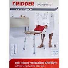 badhocker mit bambussitzfläche badezimmer ridder alu gestell höhenverstellbar 32 sopomarkt24