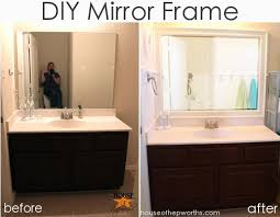 the bathroom mirror gets framed
