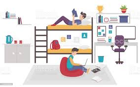 schlafsaal mit zwei teenagermännerbrüdern teilen schlafzimmer freunde männchen studieren zu hause zusammen flache vektordarstellung stock vektor