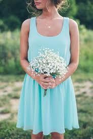 Rustic Tiffany Blue Bridesmaid Dress And Babys Breath Bouquet