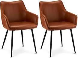 ibbe design 2er set cognac braun kunstleder esszimmerstühle vintage industrial lounge küchenstühle mit armlehnen schwarz metallgestell l56x