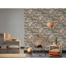 a s création vliestapete authentic walls tapete in steinoptik backstein braun gelb grau
