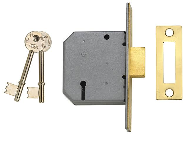 Union 3 Lever Mortice Deadlock - Polished Brass, 77.5mm