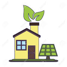 100 The Leaf House Eco House With Leaf And Solar Panel Vector Illustration Graphic