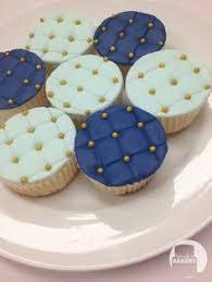 Royal Blue White Silver Wedding Anniversary Cupcakes