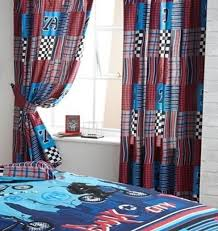 boys chequered flag red blue patchwork curtains 54s ebay