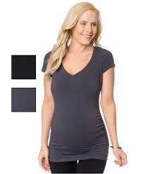 bumpstart cap sleeve v neck ruched top in gray lyst