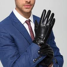 Italian Deluxe Brand Men Leather Gloves Genuine Lambskin Warm Fleece Lined Winter Dress