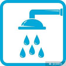 aufkleber blau badezimmer symbol