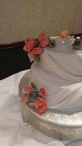 Spring Glamorous Wedding Coral Silver And White Handmade Sugar Flowers Fondant Drape