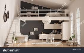 100 Minimalist Loft Scandinavian Oneroom Apartment White Stock