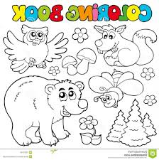 Animals In Forest Drawing Coloring Book With 1 Stock Photo Image 16231340