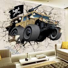 großhandel dropship individuelle tapete tapete karikatur auto gebrochene wand 3d creative wandmalerei wohnzimmer tv kulisse tapeten für