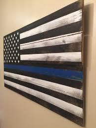 Thin Blue Line Pallet Flag Rustic Reclaimed Wood American