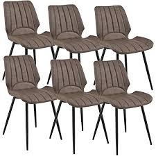 en casa 6x stühle dunkelbraun gepolstert in wildlederimitat lehnstuhl esszimmer stuhl polsterstuhl im 6er set lounge set