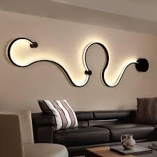 modern minimalist creative wall l black white led indoor living