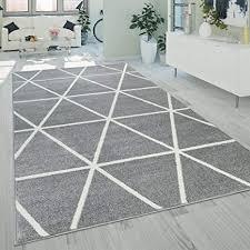 paco home kurzflor teppich grau weiß wohnzimmer rauten