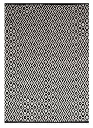tapis coton tisse a plat tapis luxueux en coton tissé à plat à motif géometrique noir crème