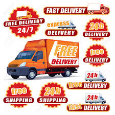 100 Signs For Trucks Set Of Red Delivery With And Labels Royalty Free