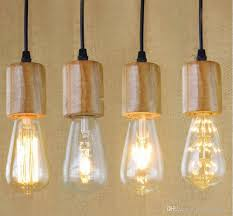 Hanging Lamp Base E27 Vintage Retro Edison Wood Holder Pendant Bulb Light Screw Socket E26 Art Decoration Wire Holders Small