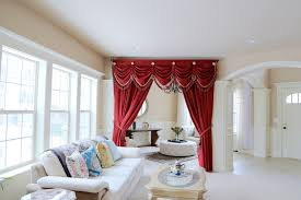 Red Curtains Living Room Ideas by Elegant Red Curtains Curtain And Drapes That Has White Wall And