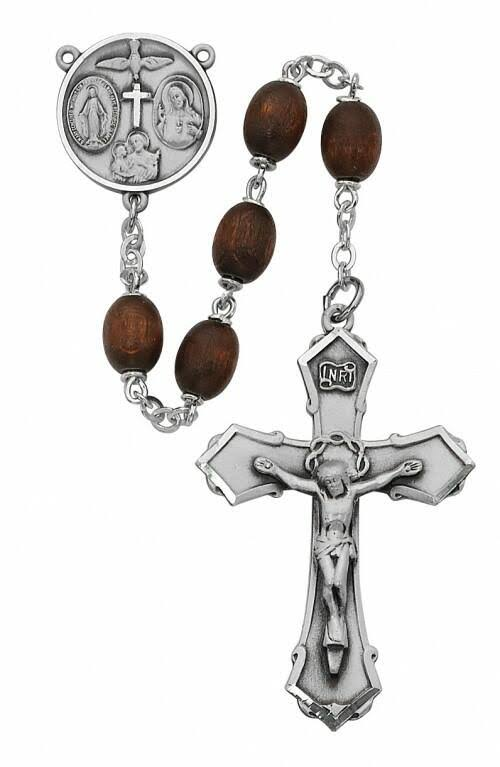 Brown Wood 4-Way Rosary Boxed