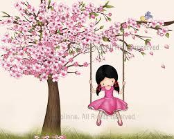 Cherry Blossom Tree Wall Art Print Girls Room Decor Nursery Girl