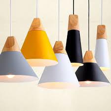 Modern Wood Dining Room Lights Pendant Lamp Art Lamparas Colorful Aluminum Shade Luminaire For Home Lighting