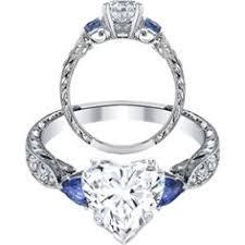 Vintage Heart Shape diamond Engagement Ring Blue Sapphire Pear side