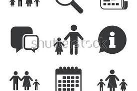 People Family Icons Swimming Pool Love And Children Signs Best Dad Mother Parenting Community Logo Stock
