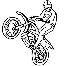 Dirt Bike Rearing Colouring Page