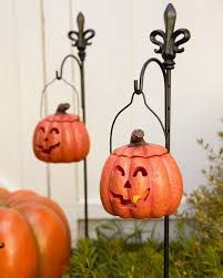 Halloween Yard Stake Lights by Set Of 2 Outdoor Lit Jack O U0027 Lanterns Balsam Hill