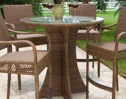 High Top Patio Furniture Sets by Patio U0026 Pergola Amusing Brown Round Unique Wooden Patio High Top