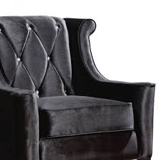 Armen Living Barrister Chair by Chair In Black Velvet With Crystal Buttons