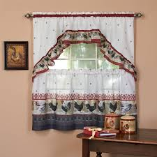 achim rooster kitchen 3 curtain tier and swag set